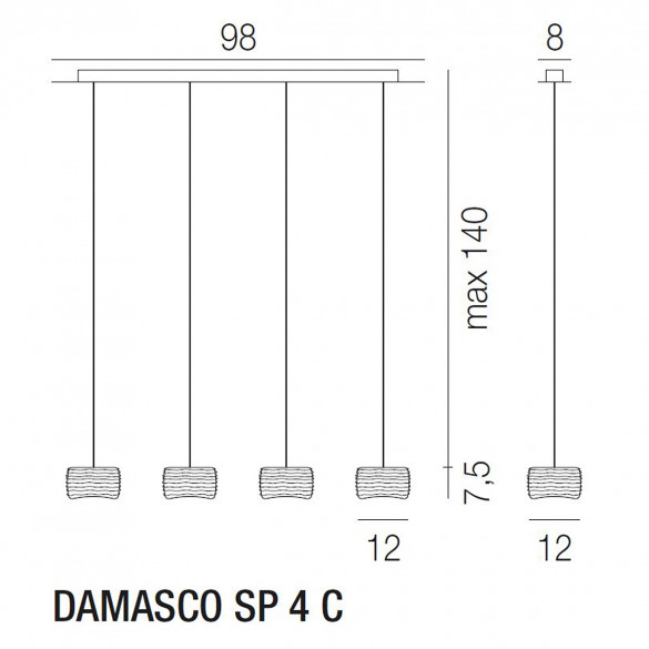 Vistosi Damasco SP 4 C Pendelleuchte (G9)