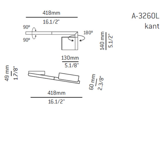 ESTILUZ Kant A-3260L LED-Wandleuchte, links