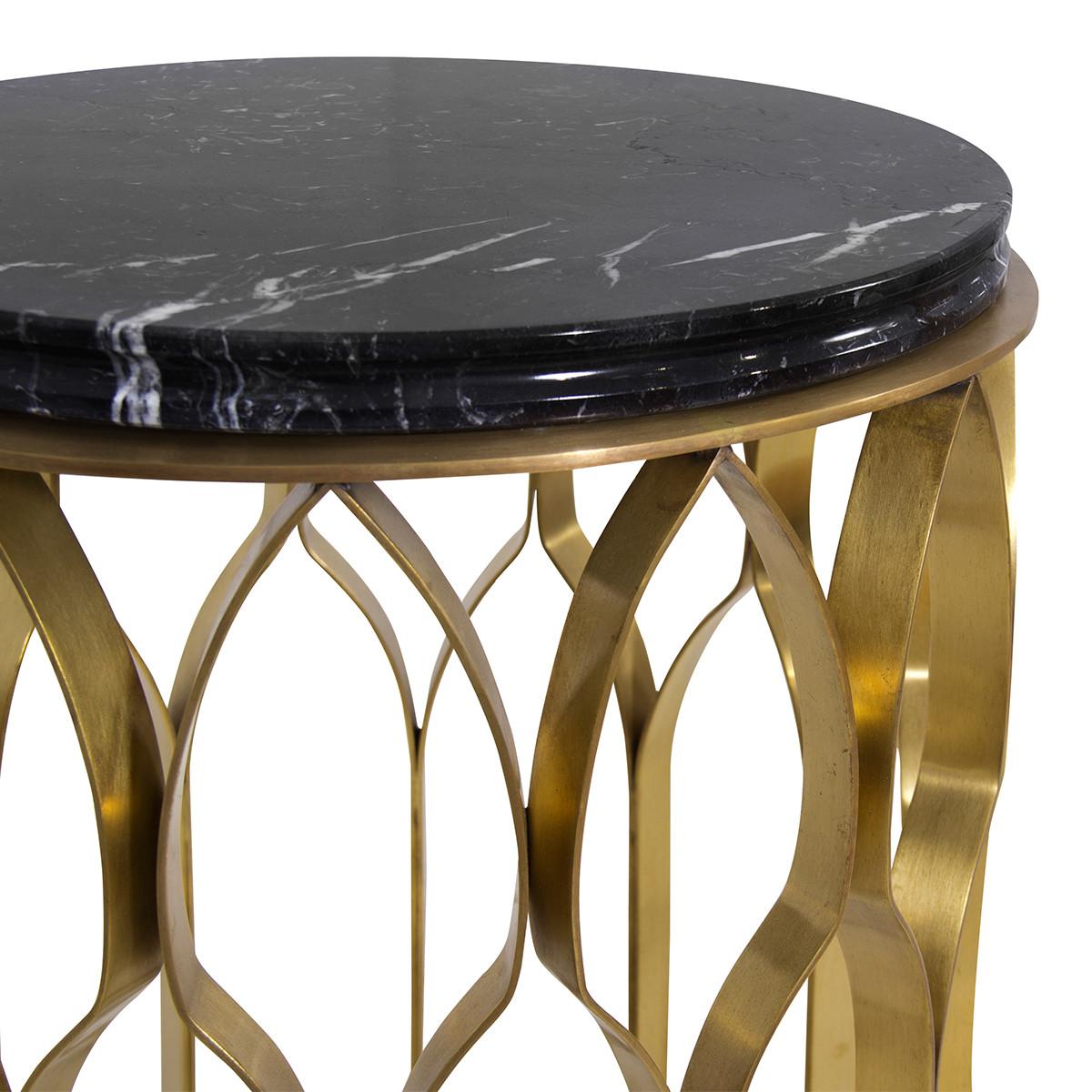 Brabbu mecca designer beistelltisch mit marmorplatte casa de for Beistelltisch marmorplatte