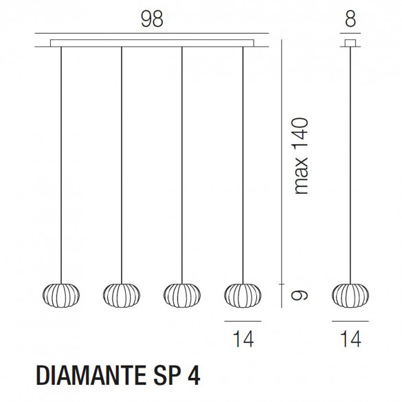 Vistosi Diamante SP 4 Pendelleuchte (G9)